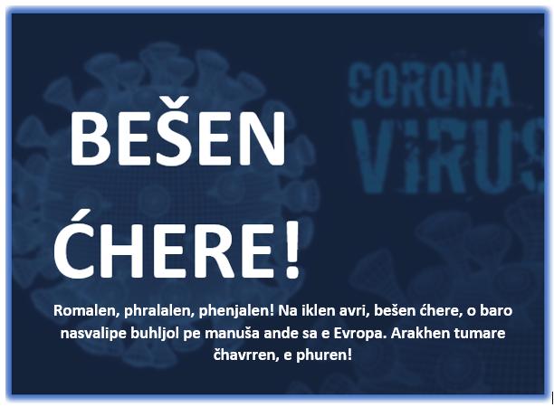 Übersetzt: Bleiben sie zuhause, aufgrund der Krankheit welche sich verbreitet in ganze Europa